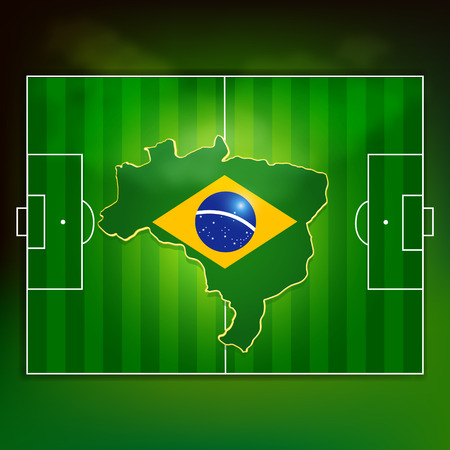 Brazil flag on soccer pitch top view background