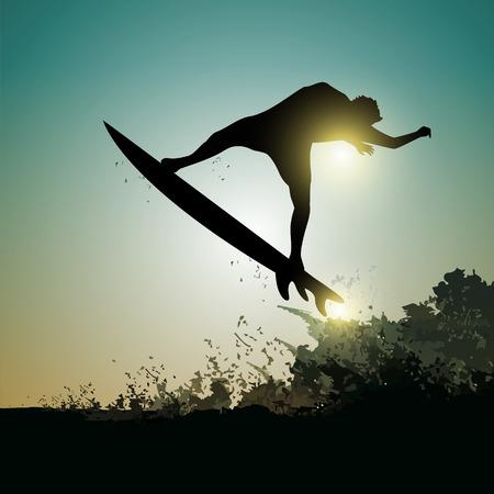 Surfer in the air with huge wave at sunset Ilustração