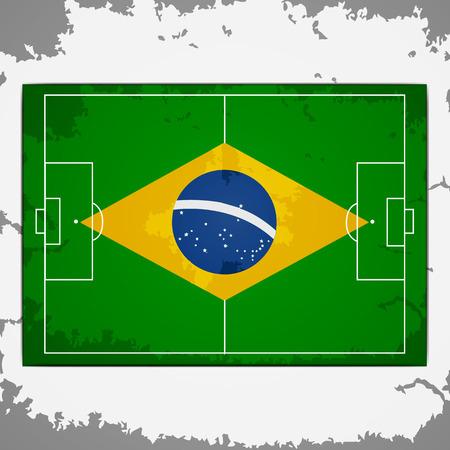 Brazil grunge flag on soccer pitch top view background Ilustração