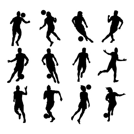 Soccer players silhouettes design element Vector
