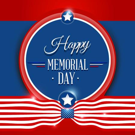 Gelukkig Memorial Day symbool met vlag rode achtergrond. vector illustratie