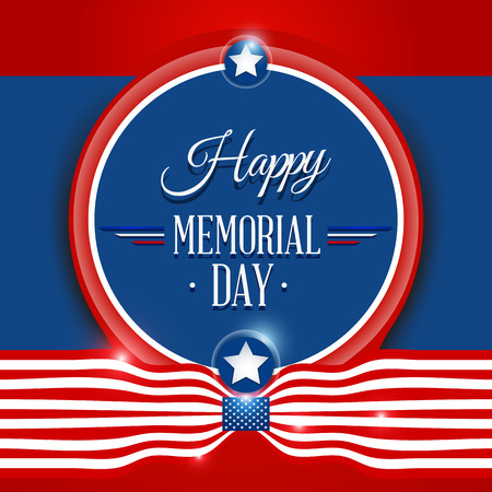 memorial day: Happy Memorial day symbol with flag red background. vector illustration