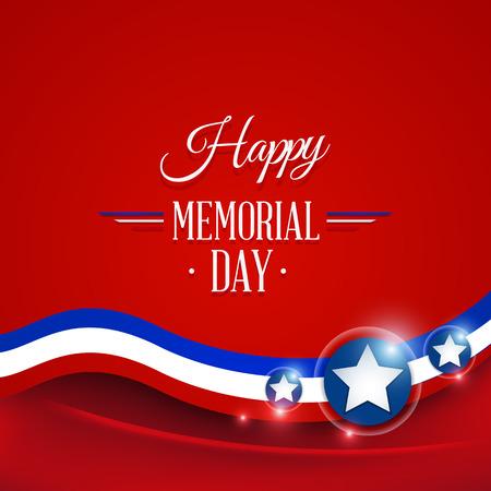 Happy Memorial day symbol red background. vector illustration Vector
