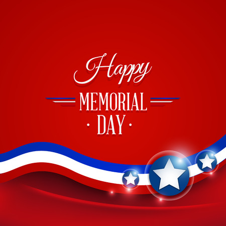 Happy Memorial day symbol red background. vector illustration