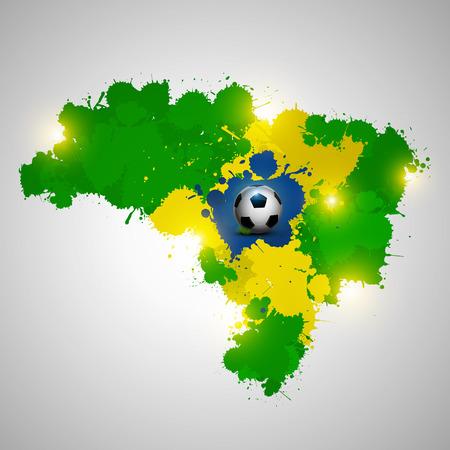 Splatter vector of Brazil map and soccer ball