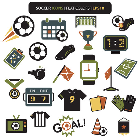 corner kick: Soccer icons retro colors set on white background  Vector