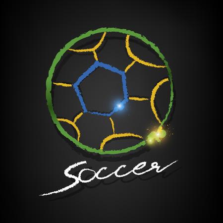 soccer ball chalk drawing with copy on a blackboard Ilustração