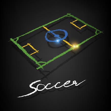 soccer pitch chalk drawing with copy on a blackboard Ilustração