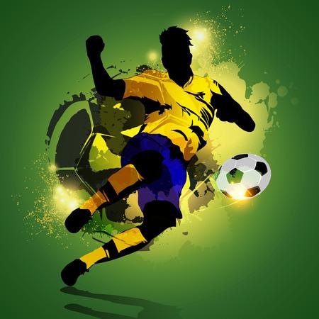 カラフルな抽象的な背景で撮影シルエットのサッカー選手