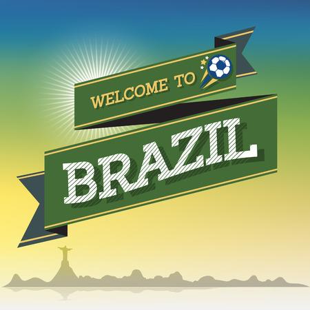 Welcome to Brazil greeting sign background, vector Ilustração