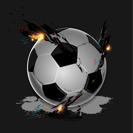 Colorful splash with soccer ball on dark background