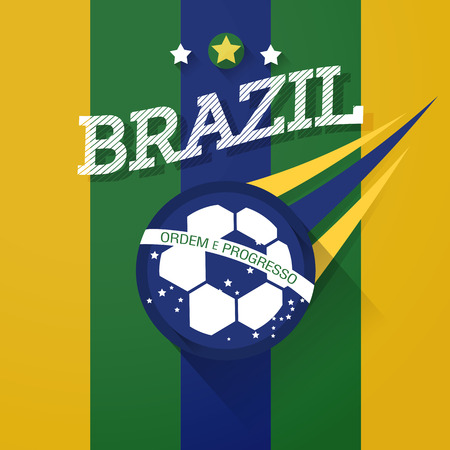 brazil soccer ball sign with long shadow vector