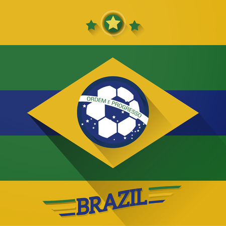 brazil soccer flags sign with long shadow vector