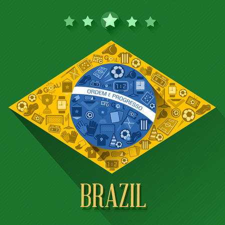 Abstract Brazil soccer flags sign and symbol  Vector Ilustração