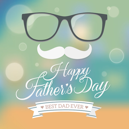 Happy father s day symbol with blur background vector Illustration