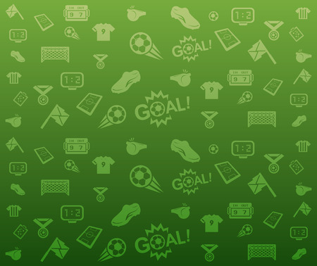 Green seamless soccer icons background vector