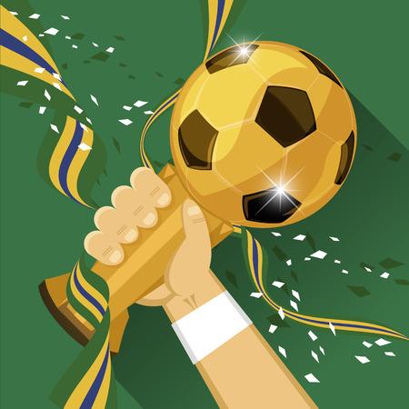 Soccer Trophy for winner with green background  Vector illustration  Ilustração