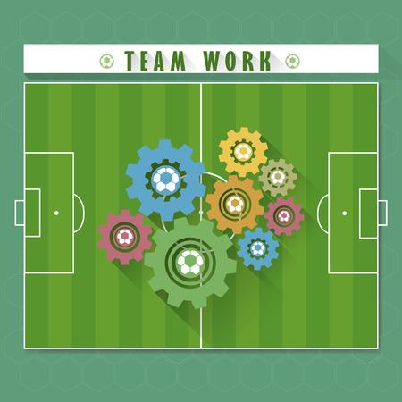 Abstract team work of soccer game vector and illustration Ilustração