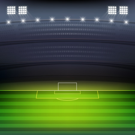 Soccer stadium at night background vector Vector