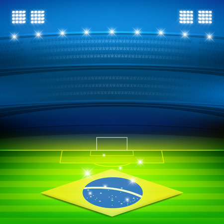 Brazil soccer stadium at night background vector