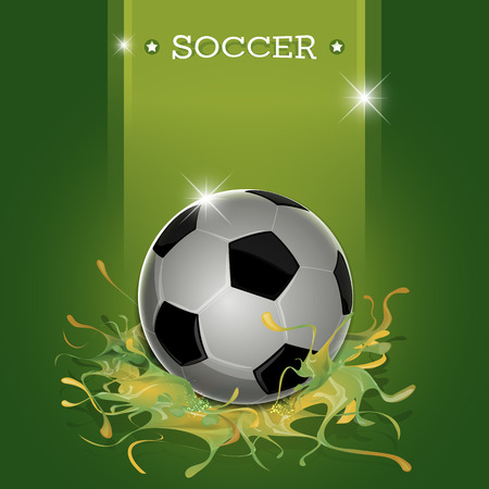 Abstract soccer ball with green splatter background vector