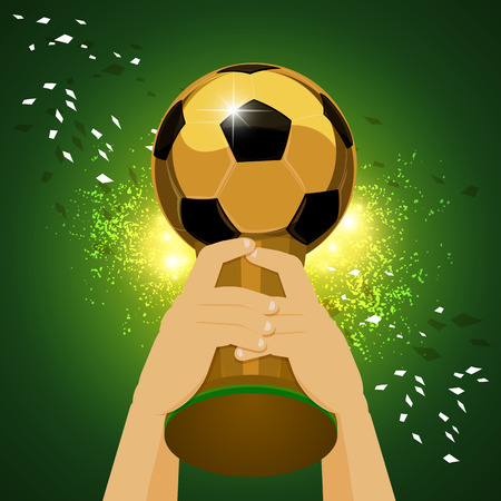 Soccer Trophy for Champion with green background  Vector illustration