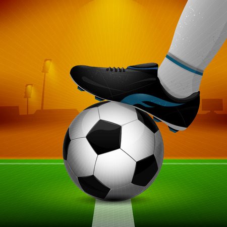 soccer cleats: Soccer ball and cleats on grass background Illustration