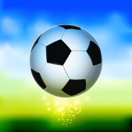 Soccer ball in the air with abstract green background Ilustração