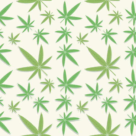 Seamless green cannabis leaves pattern on background