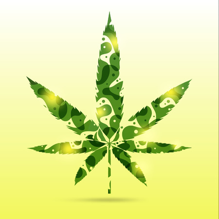 abstract green cannabis leaves on yellow background