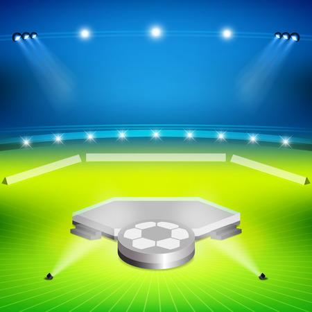 soccer stadium with winners stand and spotlight Ilustração