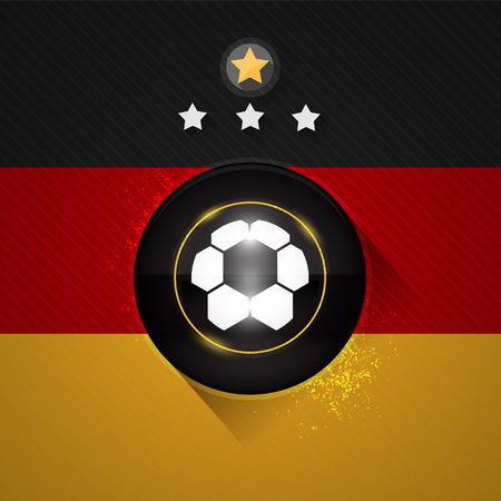 Germany soccer flag with ball and stars symbol Ilustração