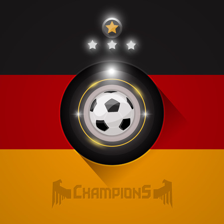 Germany soccer champions flag with ball and stars symbol