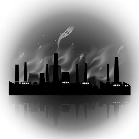 abstract night factory with evil pollution smoke  Ilustração