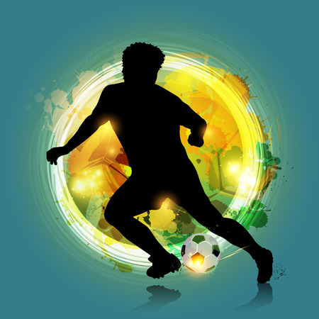 abstract silhouette soccer player with colorful background