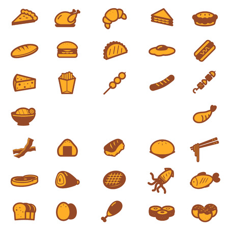 Food icons collection set.