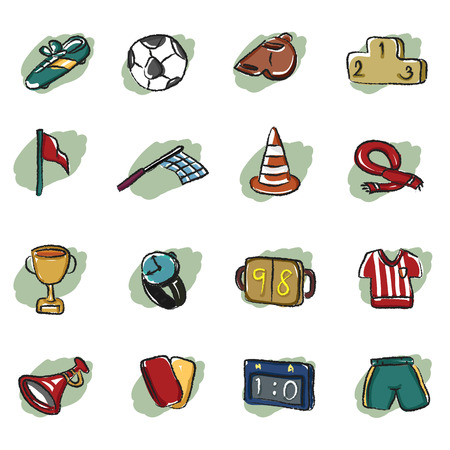 abstract soccer icon with brush outline style