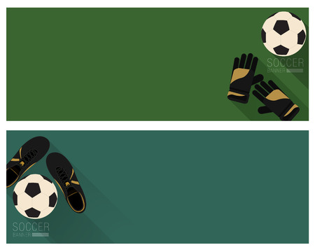 Soccer banner flat style with green color background