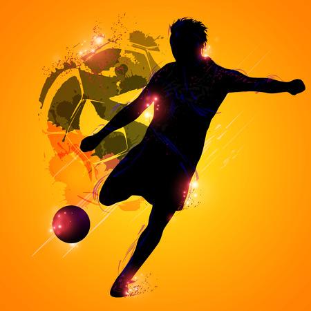 黄色の背景にファンタジー シルエット サッカー選手