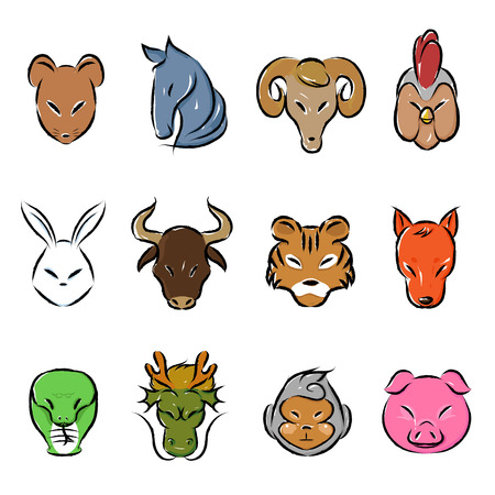 Colorful animal zodiac icon collection set. Vector and illustration