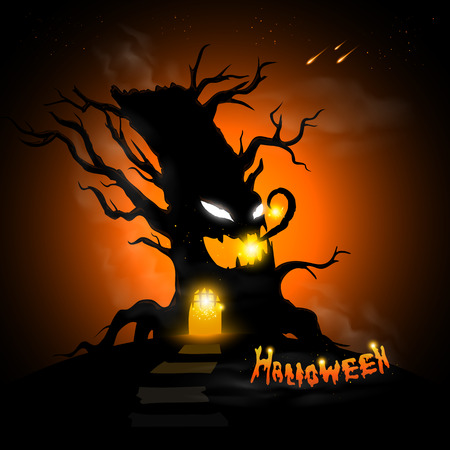 fireflies: Halloween tree at night with text and dark background