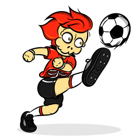skull head soccer player kicking ball with red uniform
