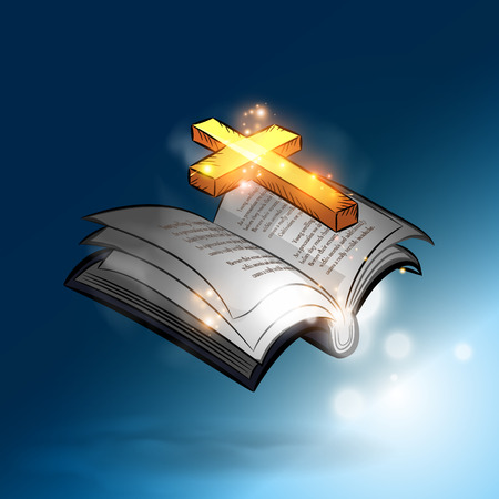 The magic bible book with lighting gold cross Vector