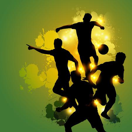 背景が緑のカラフルなスプラッタ シルエット サッカー プレーヤーお祝い