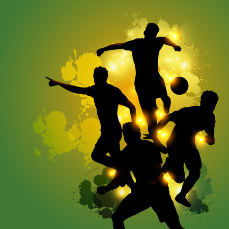 silhouette soccer player celebration with green colorful splatter background