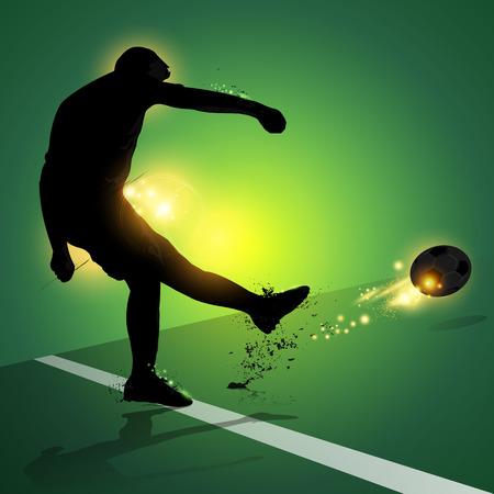 シルエット サッカー選手フリーキック緑の背景で撮影