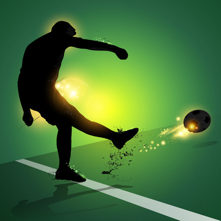 silhouette soccer player free kick shooting with green background