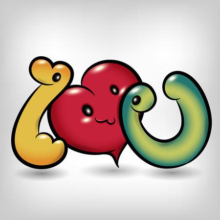 i love you symbol: i love you symbol cartoon with gray background