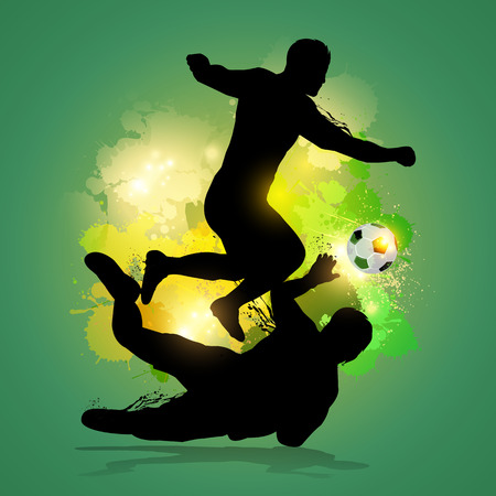 soccer player dribbles through goalkeeper with colorfu lsplatter background