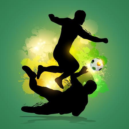 futbolista dribla a través de portero con el fondo lsplatter colorfu